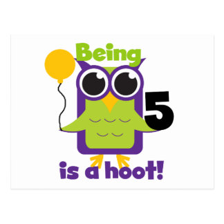 Hoot Owl 5th Birthday T-shirts and Gifts Postcard