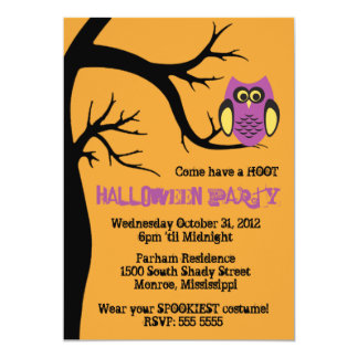 Hoot Owl Halloween Party Invitation