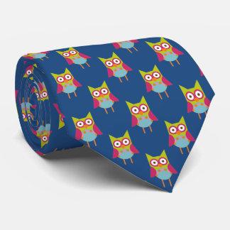 Hoot Owl Pattern on Blue Double Tie