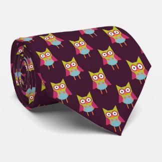 Hoot Owl Pattern on Purple Double Tie