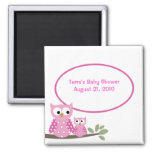 Hoot Owls PINK Baby Shower Favour Magnet