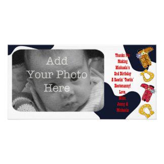 Hootenanny Hoedown Cowboy Themed Thank You - Personalised Photo Card