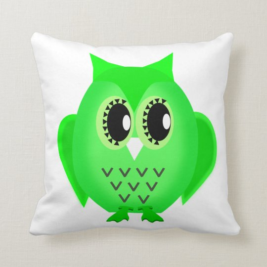 Hootie Hoot Owl Lime Green Choose Background Cushion