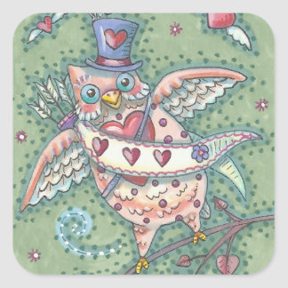 HOOTS N' HEARTS OWL Cupid VALENTINE STICKER Sheet