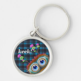 Hoots Toots Haggis. Keek! Silver-Colored Round Key Ring