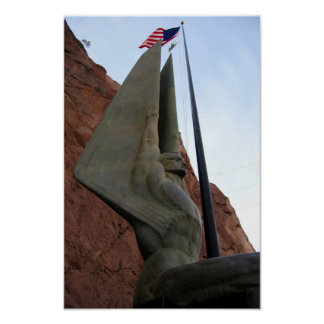 Hoover Dam Statue with American Flag Poster