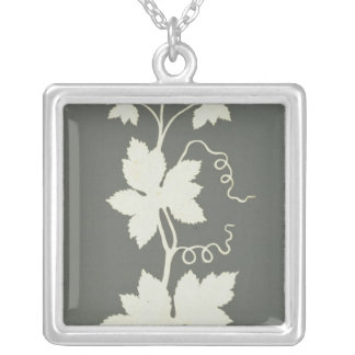 Hop plant silver plated necklace