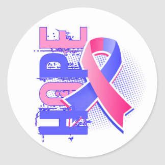 Hope 2 Male Breast Cancer Round Stickers