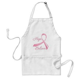 Hope Believe Brush Ribbon Breast Cancer Adult Apron