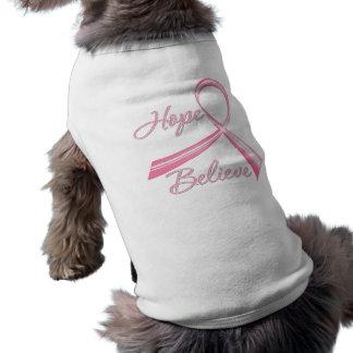 Hope Believe Brush Ribbon Breast Cancer Sleeveless Dog Shirt