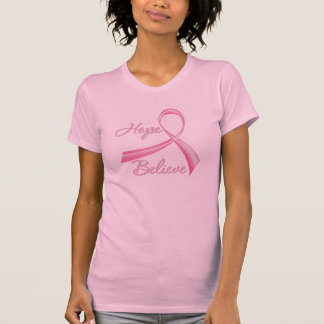 Hope Believe Brush Ribbon Breast Cancer T-shirts