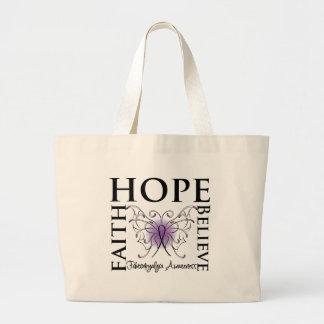 Hope Believe Faith - Fibromyalgia Tote Bags