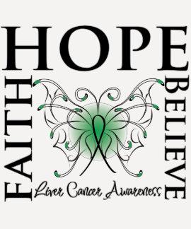 Hope Believe Faith - Liver Cancer Tshirts