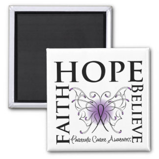 Hope Believe Faith - Pancreatic Cancer Square Magnet