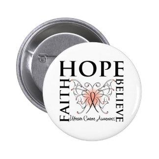 Hope Believe Faith - Uterine Cancer 6 Cm Round Badge
