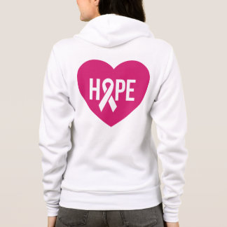Hope Breast Cancer awareness pink ribbon on heart Hoodie