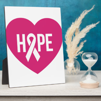 Hope Breast Cancer awareness pink ribbon on heart Plaque