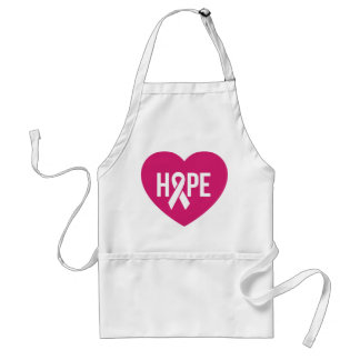 Hope Breast Cancer awareness pink ribbon on heart Standard Apron