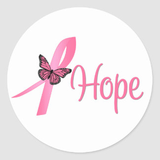 Hope Breast Cancer Awareness Round Stickers