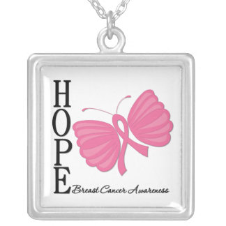 Hope Butterfly Breast Cancer Square Pendant Necklace