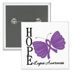 Hope Butterfly Lupus 15 Cm Square Badge