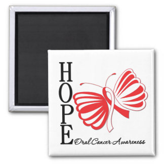 Hope Butterfly Oral Cancer Square Magnet