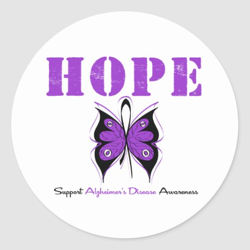 Hope Butterfly Purple Ribbon Alzheimer's Disease Round Stickers