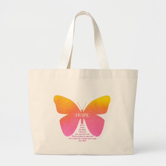 Hope Butterfly With Jeremiah 29:11 verse Large Tote