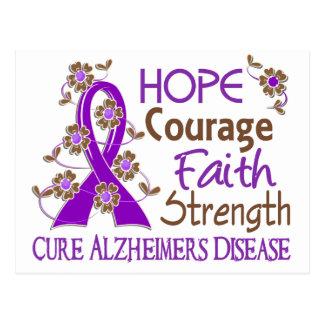 Hope Courage Faith Strength 3 Alzheimer's Disease Postcard