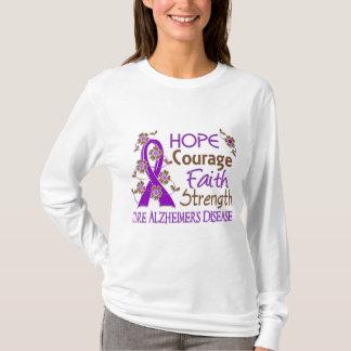 Hope Courage Faith Strength 3 Alzheimer's Disease T-Shirt