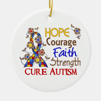 Hope Courage Faith Strength 3 Autism Christmas Ornament