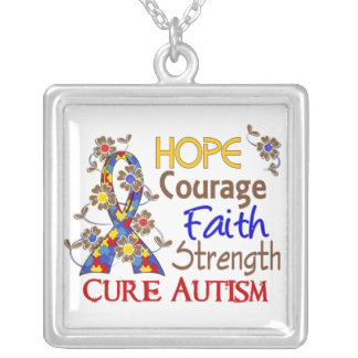 Hope Courage Faith Strength 3 Autism Silver Plated Necklace