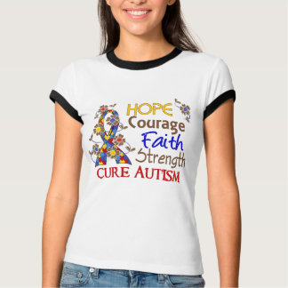 Hope Courage Faith Strength 3 Autism T Shirts