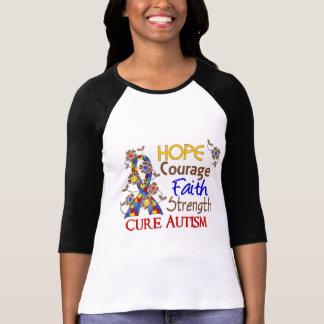 Hope Courage Faith Strength 3 Autism Tee Shirt