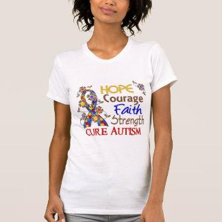 Hope Courage Faith Strength 3 Autism Tshirt
