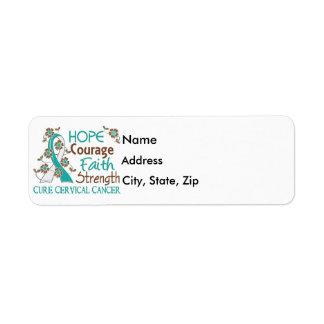 Hope Courage Faith Strength 3 Cervical Cancer Return Address Label