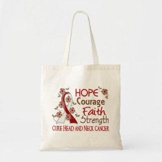Hope Courage Faith Strength 3 Head Neck Cancer Budget Tote Bag