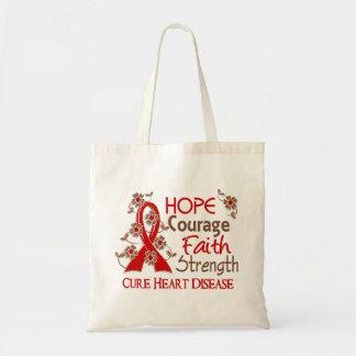 Hope Courage Faith Strength 3 Heart Disease Tote Bag