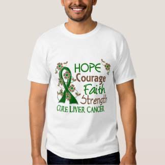 Hope Courage Faith Strength 3 Liver Cancer Shirt
