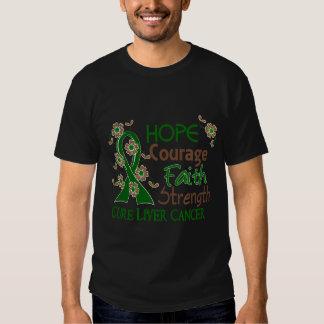 Hope Courage Faith Strength 3 Liver Cancer Tees