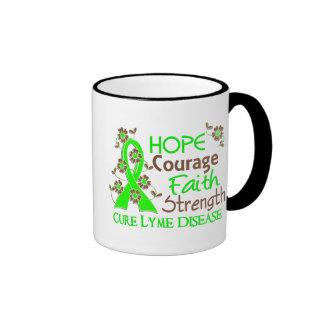 Hope Courage Faith Strength 3 Lyme Disease Ringer Coffee Mug