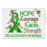 Hope Courage Faith Strength 3 Organ Donation Cards