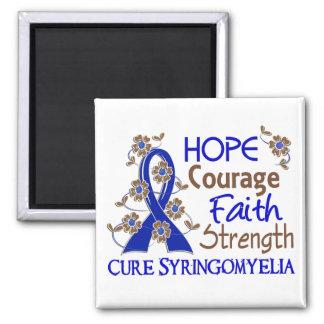 Hope Courage Faith Strength 3 Syringomyelia Square Magnet