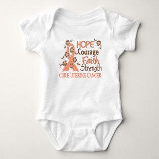 Hope Courage Faith Strength 3 Uterine Cancer Baby Bodysuit