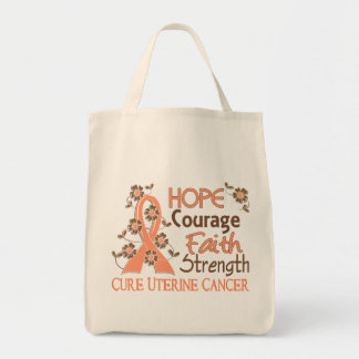 Hope Courage Faith Strength 3 Uterine Cancer Grocery Tote Bag