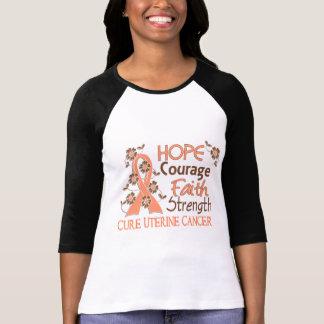 Hope Courage Faith Strength 3 Uterine Cancer Tees