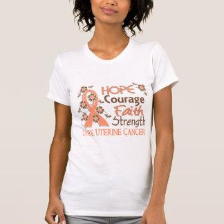 Hope Courage Faith Strength 3 Uterine Cancer T-shirts