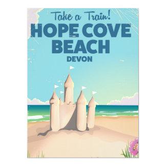 Hope Cove Beach Devon Vintage travel poster 17 Cm X 22 Cm Invitation Card