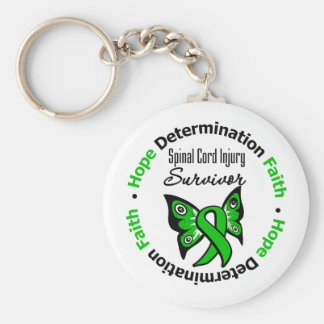 Hope Determination Faith Spinal Cord Injury Basic Round Button Key Ring