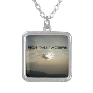 Hope Dream Achieve Square Pendant Necklace